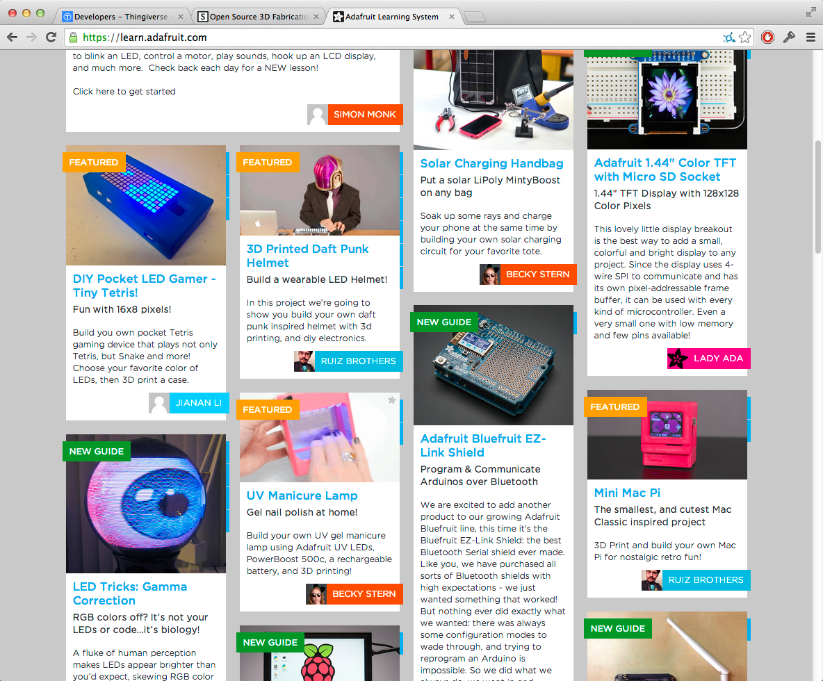 Adafruit learning system homepage