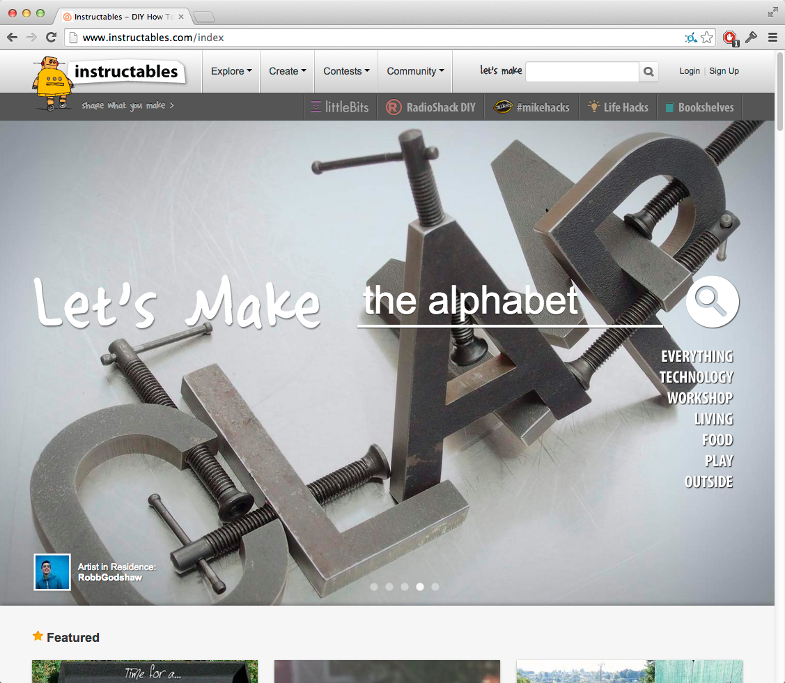 Instructables homepage