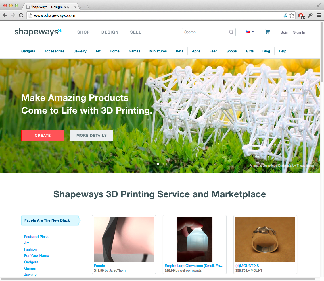 Shapeways homepage