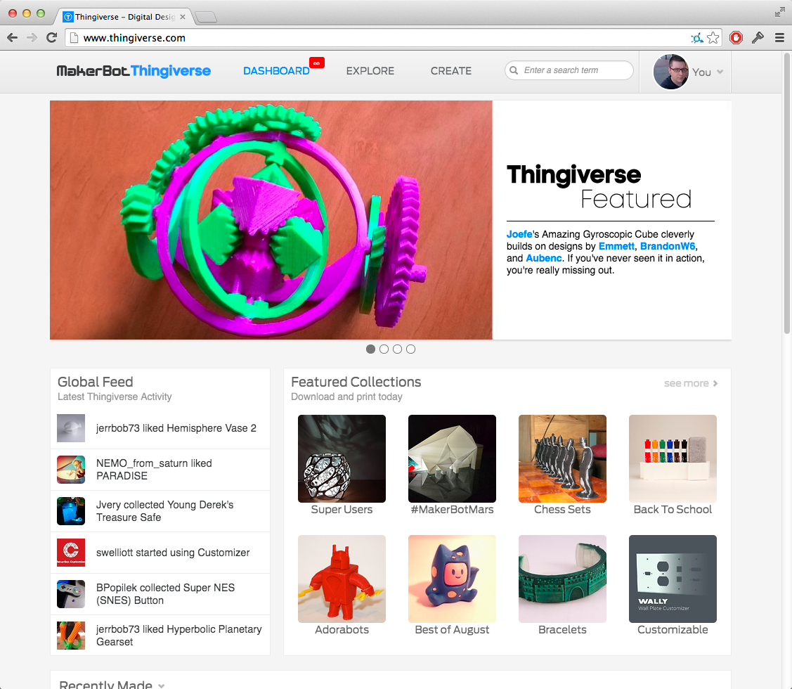 Thingiverse homepage